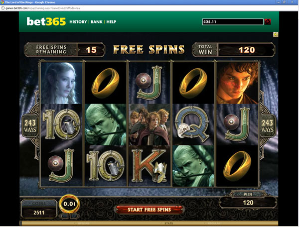 The Lord of The Rings Slots at Bet365 Casino